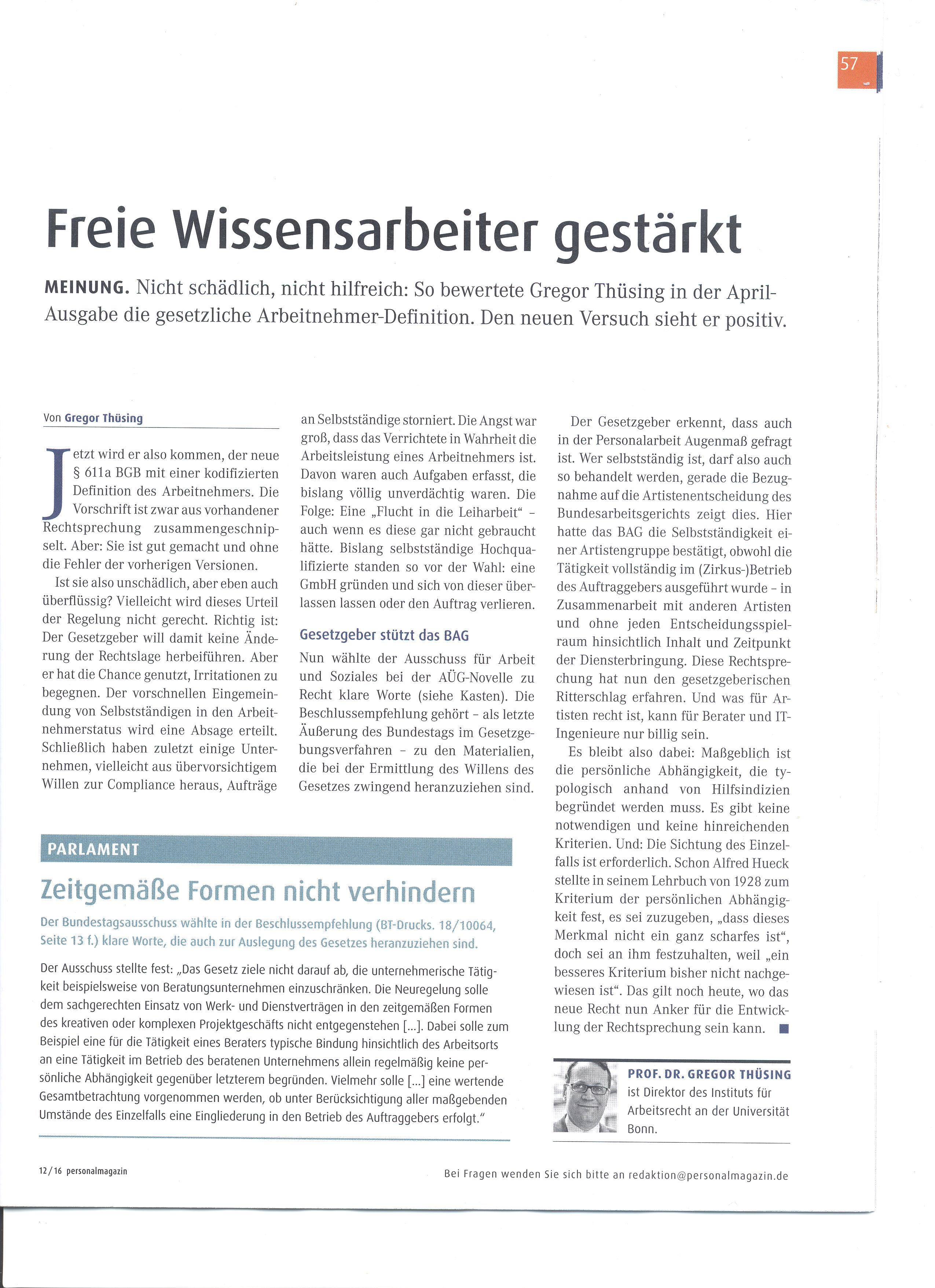 Presse / Beiträge in Tageszeitungen - Lehrstuhl Prof. Dr. Thüsing